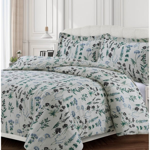 Fleur 170-GSM Cotton Flannel Printed Oversized Duvet Set