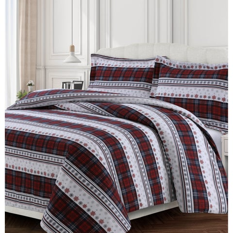 Comfy Stripe 170-GSM Cotton Flannel Printed Oversized Duvet Set
