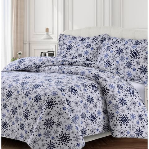 Snowflakes Printed 170-GSM Cotton Oversized Soft Flannel Duvet Set