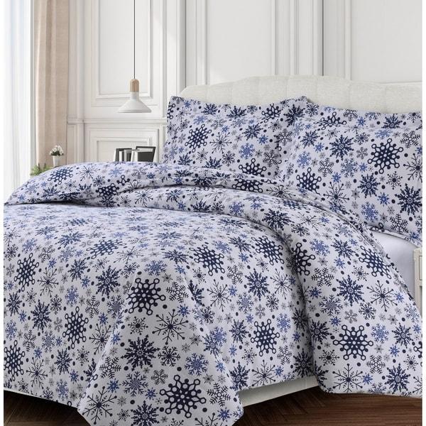 Snowflakes Printed 170-GSM Cotton Oversized Soft Flannel Duvet Set