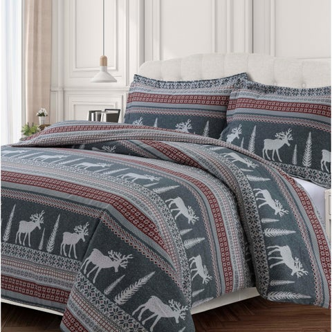 Winter Reindeer 170-GSM Cotton Flannel Printed Oversized Duvet Set