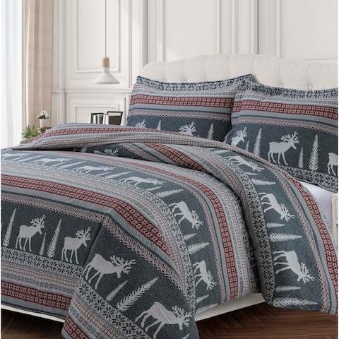 Winter Reindeer 170-GSM Cotton Flannel Printed Oversized Duvet Set - winter reindeer - winter reindeer