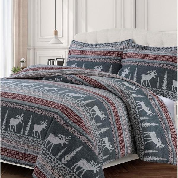 Winter Reindeer 170-GSM Cotton Flannel Printed Oversized Duvet Set