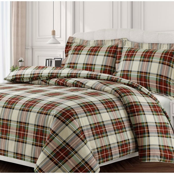 Charleston Plaid Soft 170-GSM Cotton Flannel Printed Oversized Duvet Set