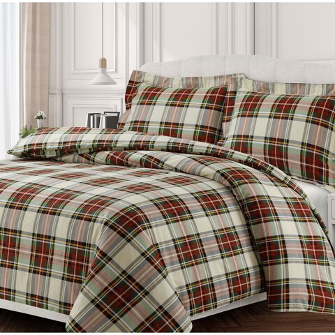 Charleston Plaid Soft 170-GSM Cotton Flannel Printed Oversized Duvet Set