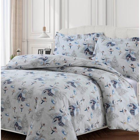 Snowman 170-GSM Cotton Flannel Printed Oversized Duvet Set