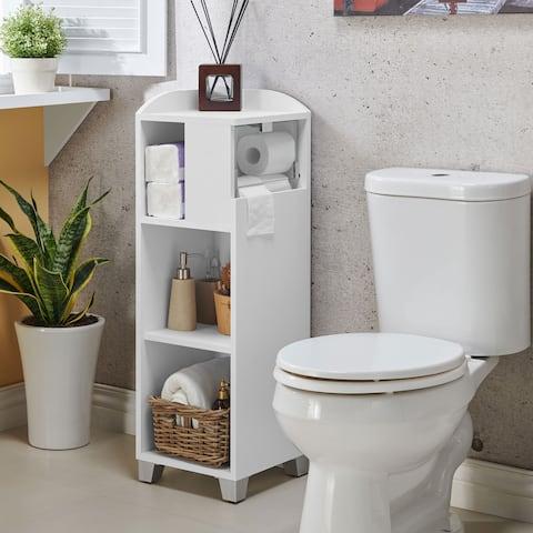 Furniture of America Rore Modern White Bathroom Corner Storage Shelf