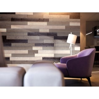 3D Reclaimed Rectangular DIY Peel and Stick Mixed Brown  Wood Panels Plank Decor 10 Panels / 16sqft Per Box