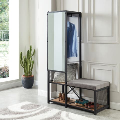 Carbon Loft Parrish Storage Bench with Coat Rack and Mirror