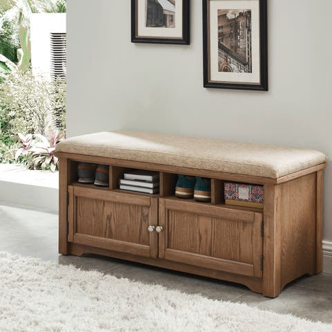 Furniture of America Verne Country Style 2-door Storage Bench