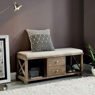 Furniture of America Lila Rustic 2-drawer Storage Bench