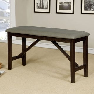 Furniture of America Higgins Counter Height Wire-Brushed Bench