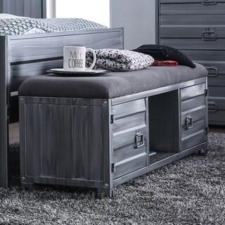 Furniture of America Caleb Industrial Metal Storage Bench