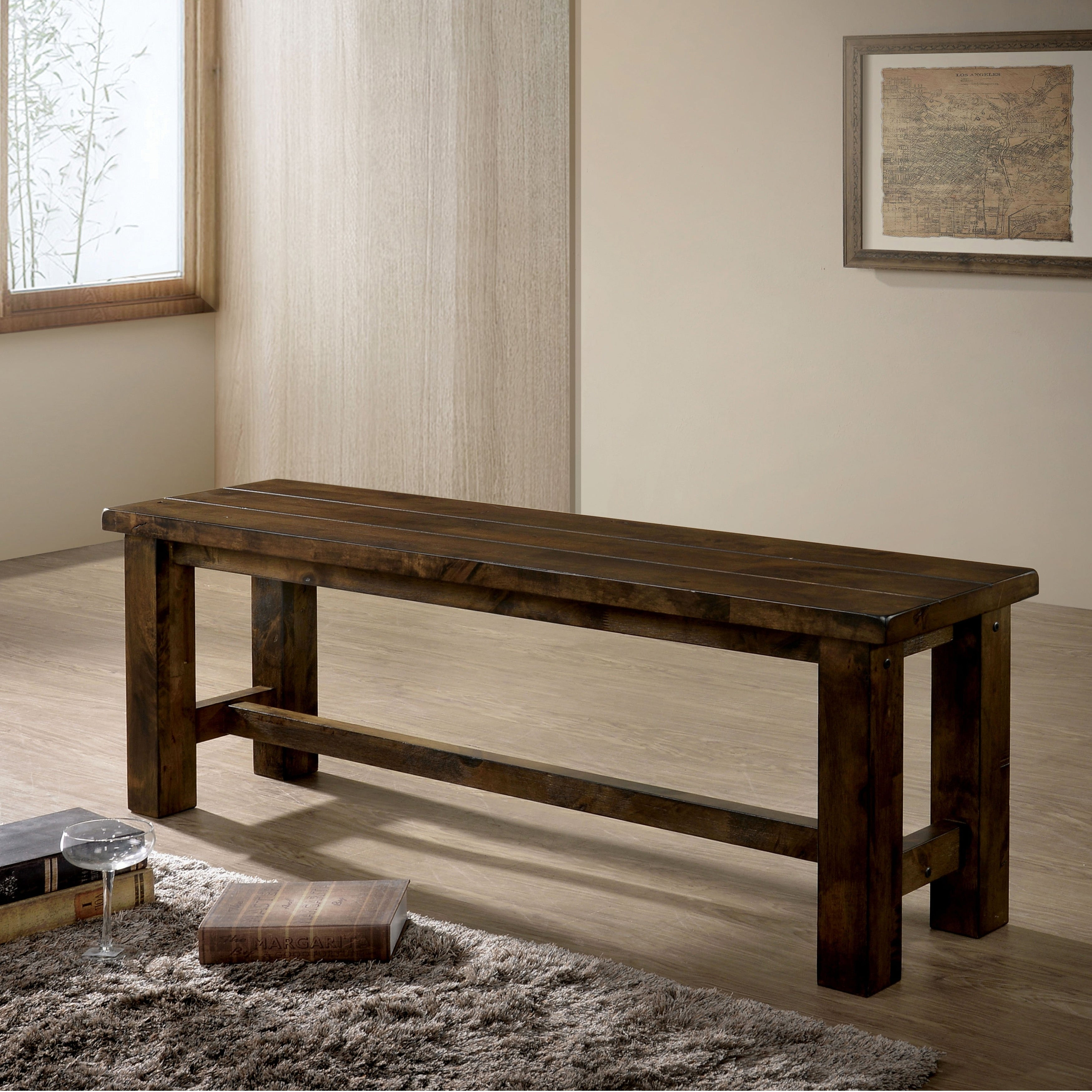 Pleasing Oakhurst Rustic 52 Inch Rustic Oak Dining Bench By Foa Theyellowbook Wood Chair Design Ideas Theyellowbookinfo