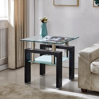 Perla Glass-topped Wood Glossy End Table