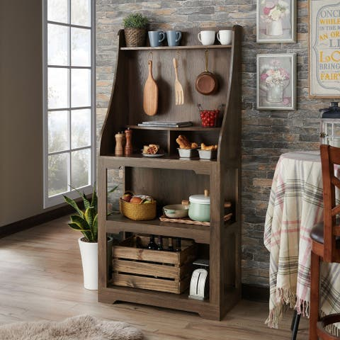Furniture of America Luff Transitional Walnut Baker'S Rack