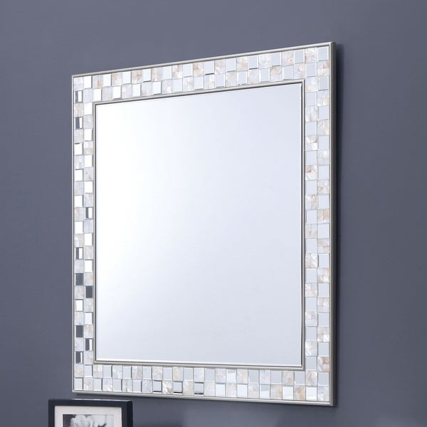 Shop Furniture Of America Anais Mother Of Pearl Wall Mirror Silver