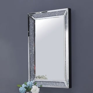 Silver Orchid Gaden Jeweled Wall Mirror