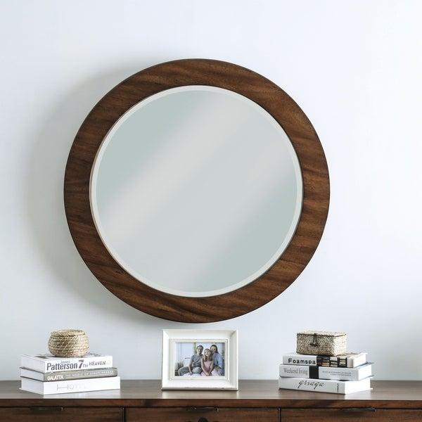 Carbon Loft Gertrude Round Dark Oak Wall Mirror