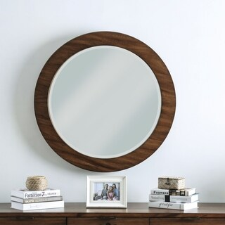 Furniture of America Ophelia Round Dark Oak Wall Mirror - Dark oak