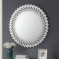 Furniture of America Aurora II Round Wall Mirror - Silver