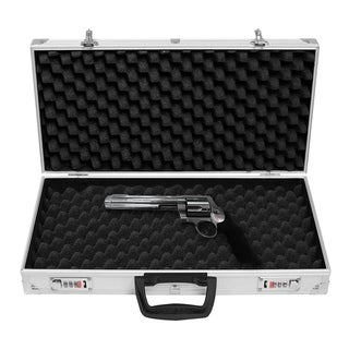 Aluminum Locking Gun Pistol Lock Box Hard Storage Carry Case