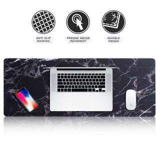 Insten 31.5-inch Marble Print Large Extended Mouse Pad with Anti-Slip Backing for Gaming PC Computer Office