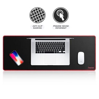 Insten 31.5-inch Black/Red Large Extended Mouse Pad with Anti-Slip Backing for Gaming PC Computer Office