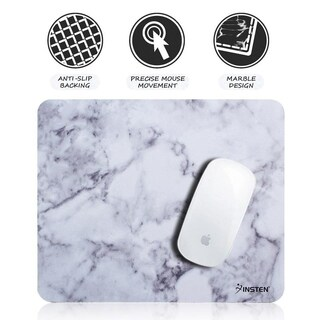 INSTEN 9.4-inch Ultra Smooth Marble Pattern Mouse Pad with Anti-Slip Backing for PC Computer Office