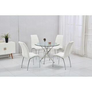 Monahan Metal and Glass Round Dining Table