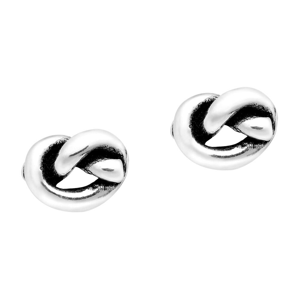 Handmade True Love Knot Sterling Silver Stud Earrings