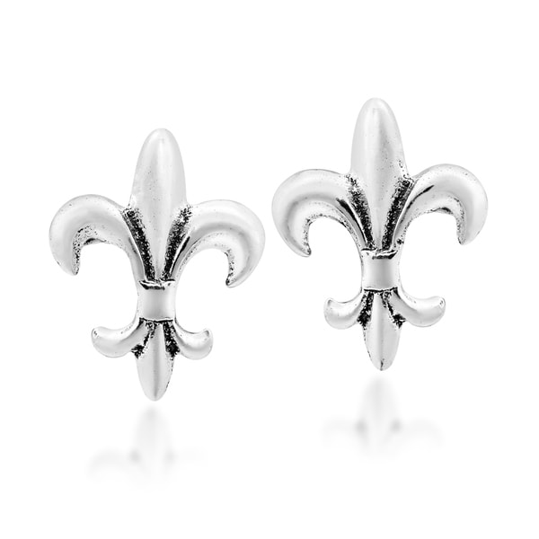Shop Handmade Simple Everyday Fleur De Lis Sterling Silver Stud