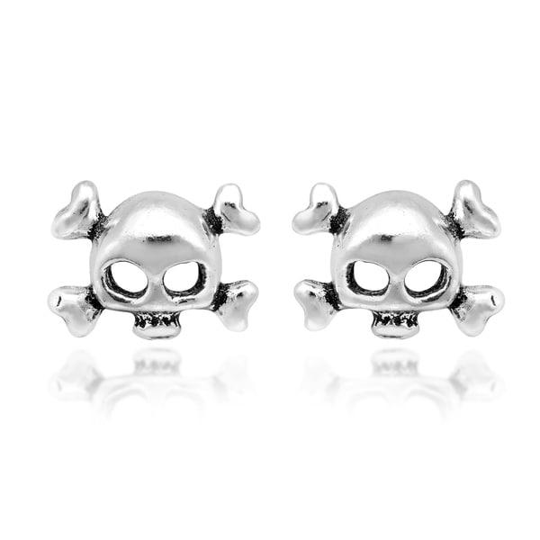 fe9d36fa9 Handmade Punk Hipster Skull Sterling Silver Stud Earrings (Thailand)