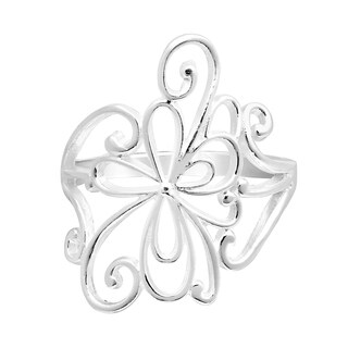 Handmade Delicate Swirling Flower Blossom Sterling Silver Ring (Thailand)