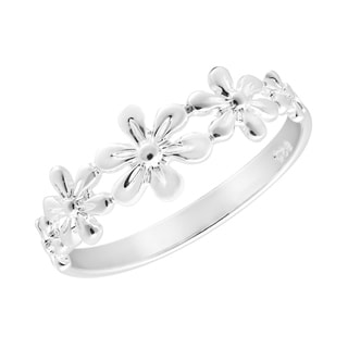 Handmade Adorable Row of Delicate Flowers Sterling Silver Ring (Thailand)