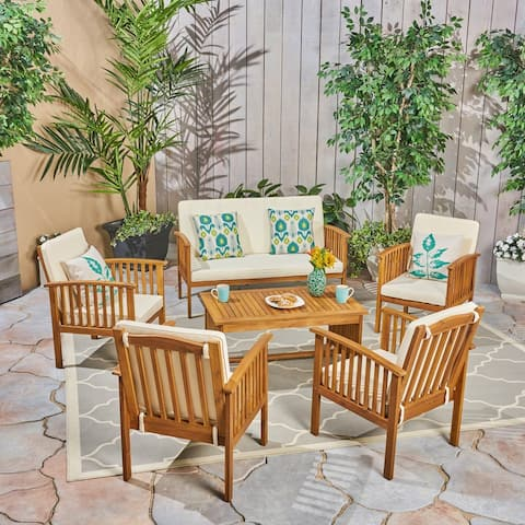 Carolina Outdoor 6-Seater Acacia Wood Chat Set by Christopher Knight Home