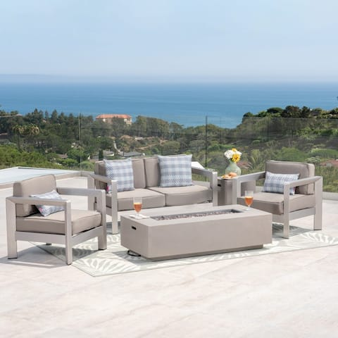 Aviara Outdoor 4-Seater Aluminum Chat Set with Fire Pit and Tank Holder by Christopher Knight Home