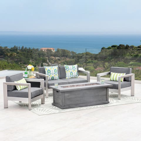 Montauk Outdoor 4-Seater Aluminum Chat Set with Fire Pit and Tank Holder by Christopher Knight Home