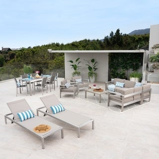 Cape Coral 7 Piece Dining Set and Sofa Set and 2 Club Chairs and 2 Chaise Lounges by Christopher Knight Home