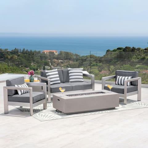 Pismo Outdoor 4-Seater Aluminum Chat Set with Fire Pit and Tank Holder by Christopher Knight Home