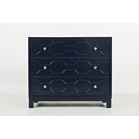 Wooden Accent Chest With 3 Spacious Drawers, Navy Blue