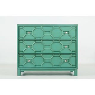 Wooden Accent Chest With 3 Spacious Drawers, Turquoise Green