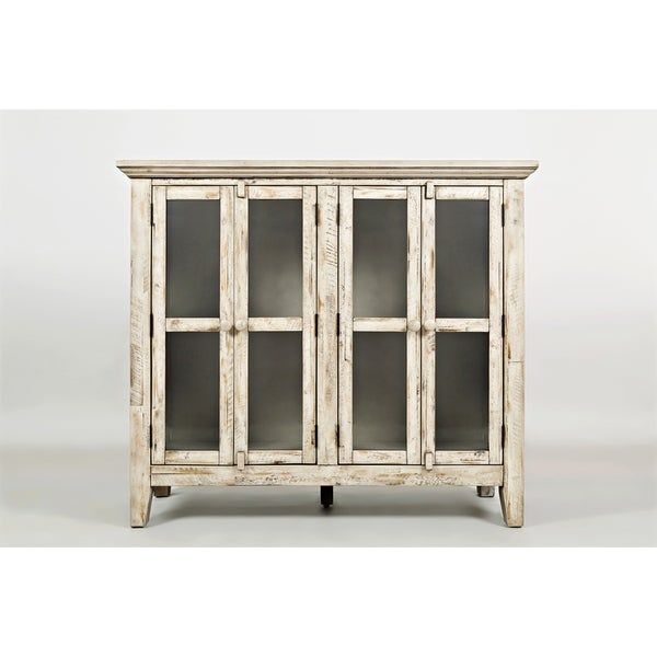 Shop Distressed Wooden Accent Cabinet With 4 Glass Doors Off White