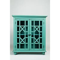 Double Door Wooden Accent Chest With Intricated Front Panels, Turquoise Green