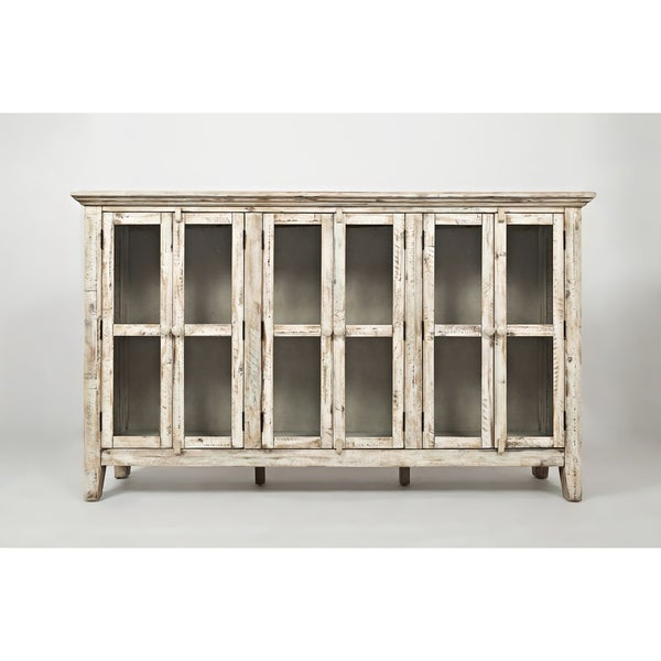 Genial Distressed Wooden Accent Cabinet With 6 Glass Doors, Off White