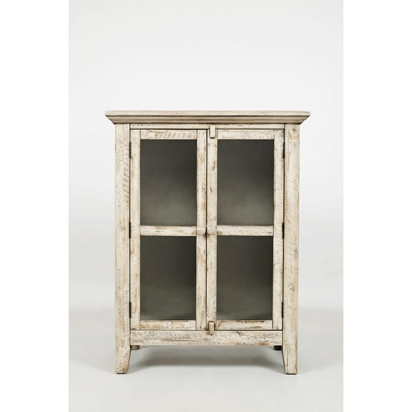 Shop Distressed Wooden Accent Cabinet With 2 Glass Doors Off White