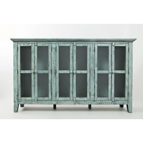 Wood Accent Cabinet With 6 Doors In Distressed Finish, Blue