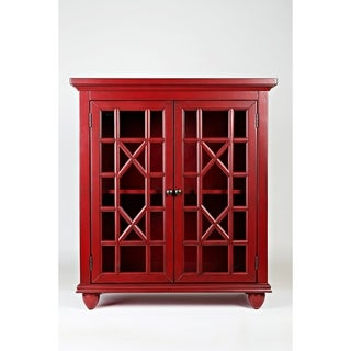 Double Door Wooden Accent Chest With Intricated Front Panels, Crimson Red