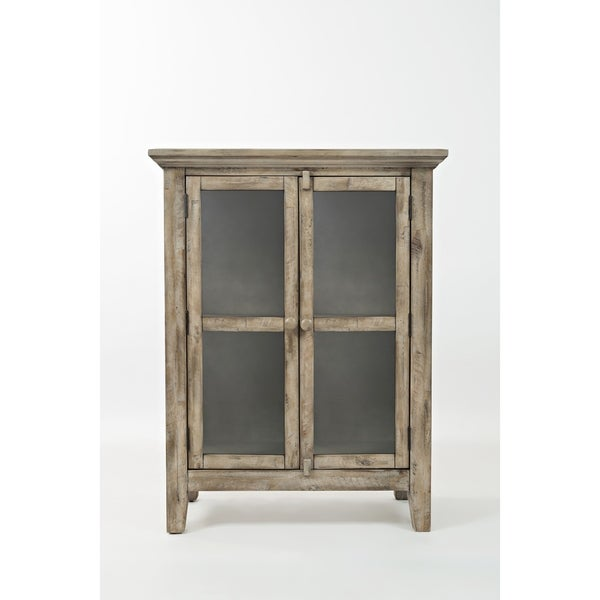Shop Wooden Accent Cabinet With 2 Glass Doors Weathered Gray On