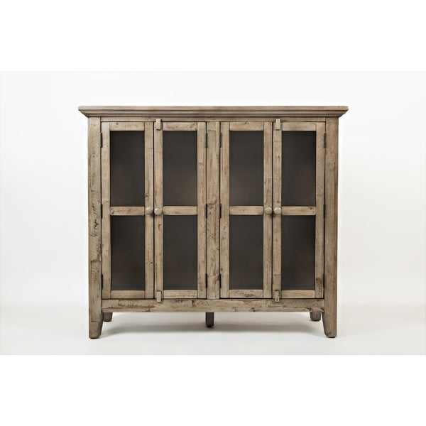 Shop Wooden Accent Cabinet With 4 Glass Doors Weathered